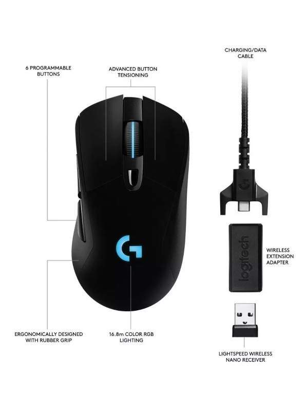 Mouse Logitech Inalámbrico Lightspeed Gaming G703 Hero