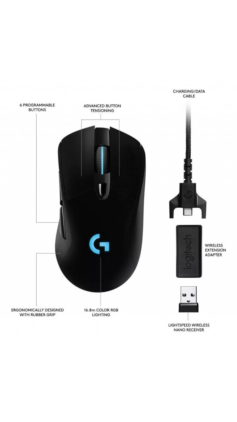 Mouse Logitech Inalámbrico Lightspeed Gaming G703 Hero
