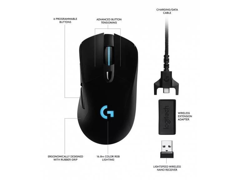 Mouse Logitech Inalámbrico Lightspeed Gaming G703 Hero Nnet