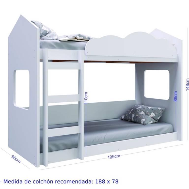 Cama Cucheta Unsi Montessoriana MDF Blanca