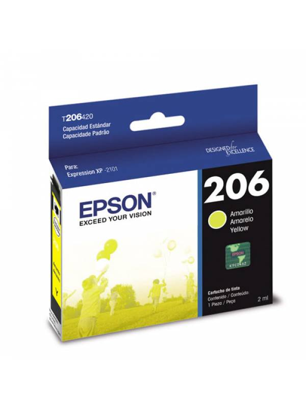 Cartucho Epson 206 Amarillo Xp 2101 150 Copias