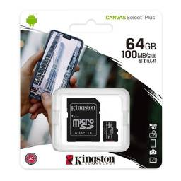 Memoria Micro SD 64 Gb Clase 10 Kingston Canvas Select Plus c/Adaptador SD