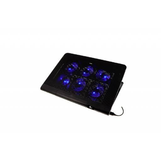Bandeja Notebook Xtech LED azul seis soporte gamer ventiladores silenciosos 2 USB compatible hasta 17´
